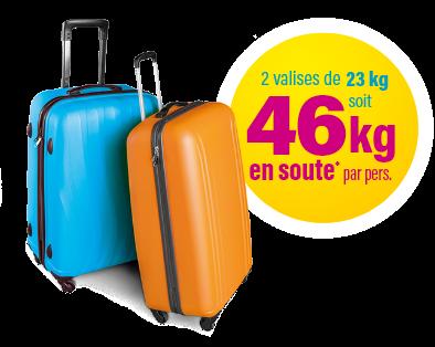 2 valises de 23kg soit 46kg en soute par personne
